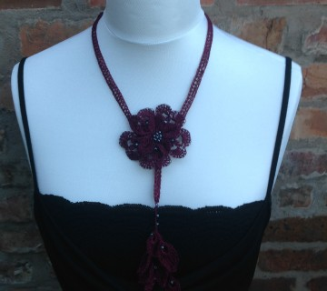 Crocheted Burgundy Lariat Necklace