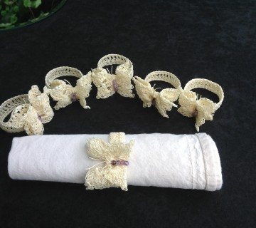 Crocheted Lace Butterfly Napkin Rings