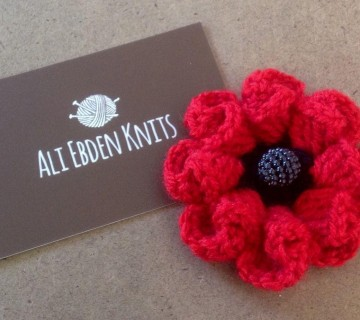 Remembrance Day Hand Knitted/Crocheted Folded Petal Poppy Brooch/Corsage/Pin