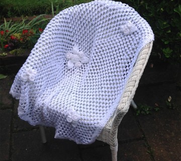 Crocheted Baby Blanket With Leaf Motif