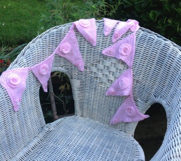 Knitted Pink Bunting With Button Detail