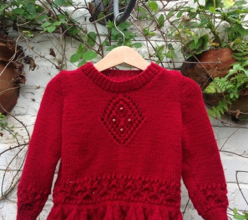 Burgundy Diamond Motif Jumper