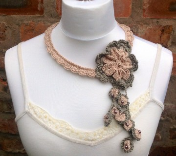Crocheted Lace Necklace, Flower Motif & Beads