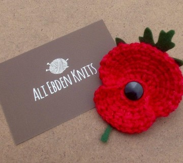 Remembrance Day Hand Knitted/Crocheted Poppy Brooch/Corsage/Pin