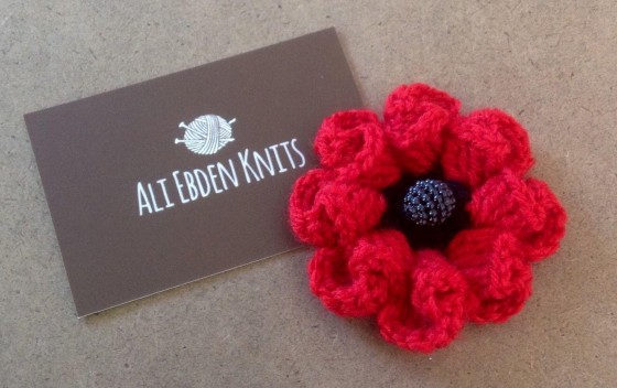 Remembrance Day Hand Knitted Crocheted Folded Petal Poppy Brooch