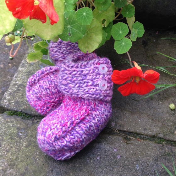 knitted-booties-purple